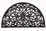 Lawn & Patio - Kempf Half Moon Shaped Rubber Scroll Doormat, 18 by 30 by 0.5-Inch