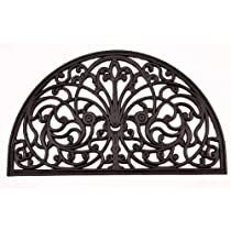 Kempf Half Moon Shaped Rubber Scroll Doormat 18 by 30 by 0.5-Inch