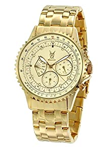 Mens Gold Bracelet Watch Big Dial Diamond Accent Multifunction Day Date Konigswerk SQ201466G