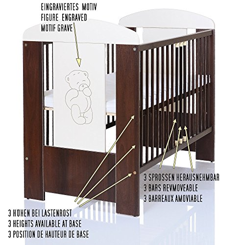 b r braun babyzimmer m bel komplettset mit kinderbett 120x60 wickelkommode 9 teiligen. Black Bedroom Furniture Sets. Home Design Ideas