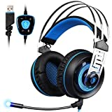 SADES A7 7.1 Virtual Surround Sound USB Gaming Headset with Microphone Intelligent Noise Cancelling LED Light for Laptop PC Mac (Black&Blue) (Color: Black, Blue)