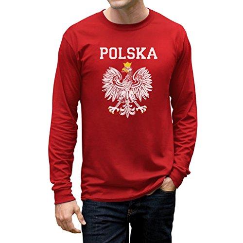 Teestars Men'S - Polska Est Soccer Team Long Sleeve T-Shirt Large Red