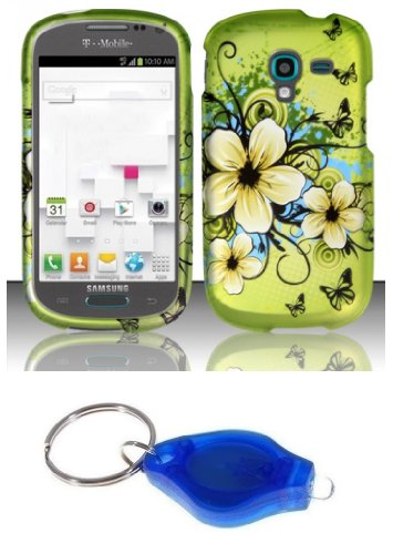 Green Hibiscus Butterfly Flower Design Shield Case + Atom Led Keychain Light For Samsung Galaxy Exhibit T599 (T-Mobile, Metro Pcs)