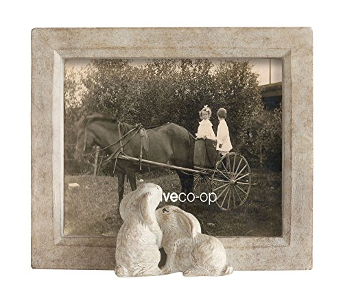 Creative Co-Op DA6892 Sand Color Resin Framed Photo Frame with Rabbits, 5 by 7