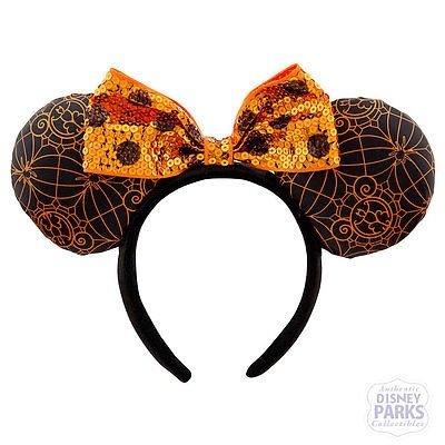 Disney Minnie Mouse Ears Orange/Black with Spiderweb Halloween Headband (Disney Minnie Ears Headband)