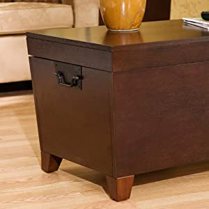Best Price Pyramid Trunk Cocktail Coffee Table Black Metal Handle Espresso Stain Finish Review
