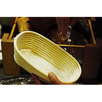 Oval Proofing Basket Set by Bread Story– Oval Banneton/Brotform Handmade Unbleached Natural Cane Bread Baking Kit with Cloth Liner + FREE Bread Baking Ebook, Course Discount, & Coupon (10x6 inch)