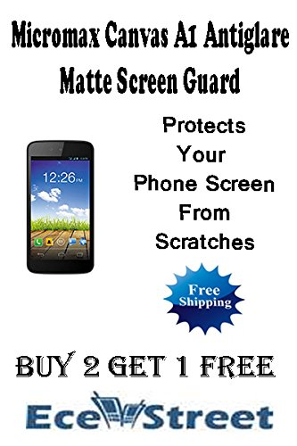 Micromax Canvas A1 Android One High Quality Antiglare Matte Screen Guard Scratch Guard Protector by ECellStreet