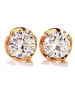 Celebrity Jewellery-2013 Fashion Ladies Rose Gold Plated Cubic Zirconia Stud Earrings for Women 9MM E12