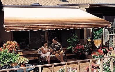 Sunsetter Retractable Awning - Motorized Pro 15ft. (Coffee Stripe) (15' wide x 10' extension)