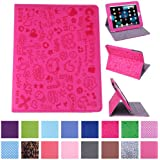 HDE Cute Cartoon - Funda de piel con atril para Apple iPad 1, color rosa