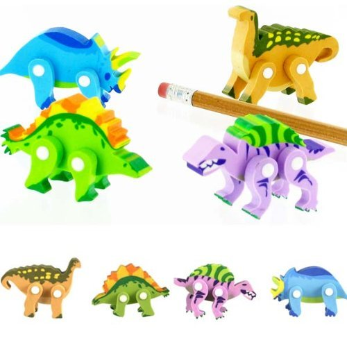 Dinosaurs Erasers Movable and Poseable - Set of 4