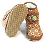 PORORO Kids FUR Warm Suede Boots Shoes for Girls Boys Ankle Brown US Size 12