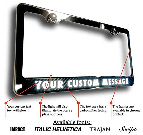 license plate frame with lighted text chrome or black