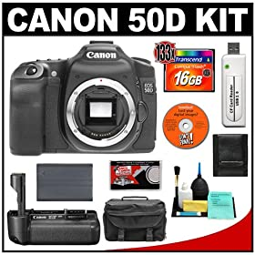 Canon EOS 50D Digital SLR Camera Body + Canon BG-E2N Battery Grip + 16GB CF Card + Battery + Case + Cameta Bonus Accessory Kit