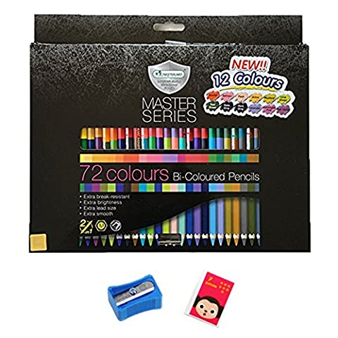 Studio Pencil Drawing Art Sketching Set 72 Brilliant Non-toxic Bi-Colored with a Sharpener and Eraser (72 colors, 36 pencils)