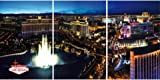 Posters: Las Vegas Stretched Canvas Print - The Strip And The Fountains Of Bellagio By Night, 3 Parts (47 x 24 inches)