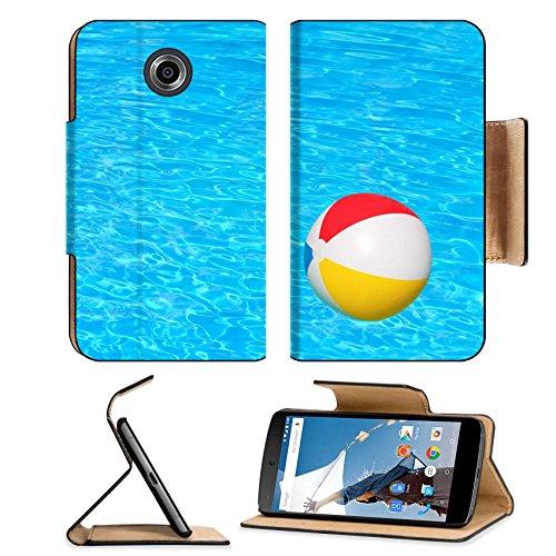 Flip Pu Leather Wallet Case Motorola Google Nexus 6 MSD Premium Inflatable ball floating in swimming pool IMAGE 30548029
