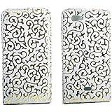 Flip Style Case Handy Tasche für Sony Xperia Miro / ST23i WEISS GOLD Schutz Hülle mit Blumen Flower Design Leder Etui Cover Gehäuse Neu