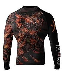 Raven Fightwear Men\'s Fire Element BJJ MMA Rash Guard X-Large