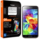 Galaxy S5 Screen Protector, Spigen� Samsung Galaxy S5 Screen Protector Glass Slim [GLAS.tR SLIM] (0.4mm) Rounded Edges Glass Screen Protector Anti Chip for Galaxy S5 / Galaxy SV / Galaxy S V (2014) - GLAS.tR SLIM (SGP10728)