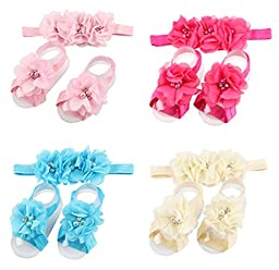 ROEWELL® 4 Sets of Baby\'s HeadBands/ Hair Bows and Barefoot Flowers Feet Accessories(set3)