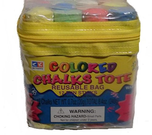 12 Colored Chalks in Tote Bag