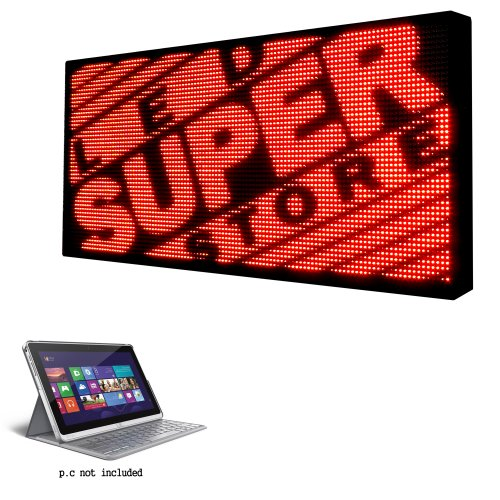 """Led Super Store Signs 1 Color (Red) 31"""" X 31"""" - P.C Controll Programmable Scrolling Display, Storefront Message Board - Industrial Grade Business Tools, Emc"""