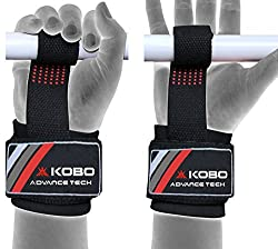 Kobo Gel Padded Weight Lifting Gym Straps Hand Bar Wrist Support Gloves Wraps Home Gym