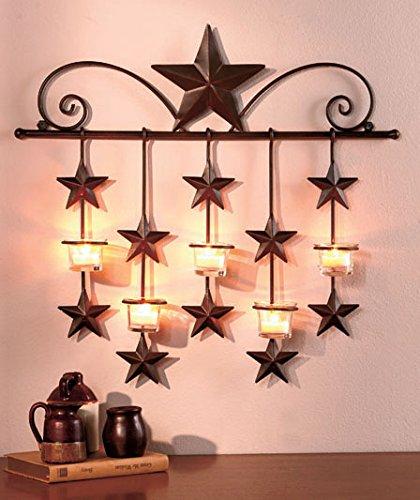 Rustic Barn Star Tea Candle Wall Sconce