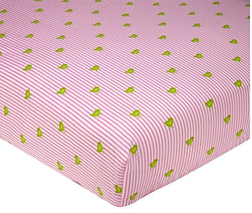 Sadie & Scout - Bird & Pinstripe Crib Sheet. - 1