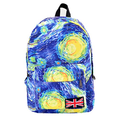 Coofit® Canvas Union Jack Logo Galaxy Printing Backpack Students' School Bag