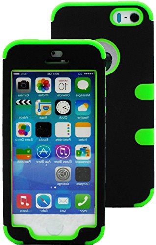 Mylife Bright Lime Green And Black - Robot Series (Neo Hypergrip Flex Gel) 3 Piece Case For Iphone 5/5S (5G) 5Th Generation Smartphone By Apple (External 2 Piece Fitted On Hard Rubberized Plates + Internal Soft Silicone Easy Grip Bumper Gel) front-1049239