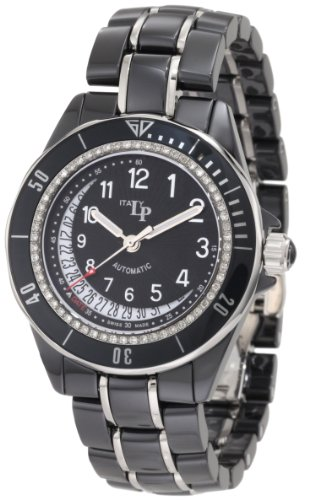 Lucien Piccard Women's 27110BKNUM Celano Mid Size Automatic Diamond Accented Black Dial Black Ceramic Watch
