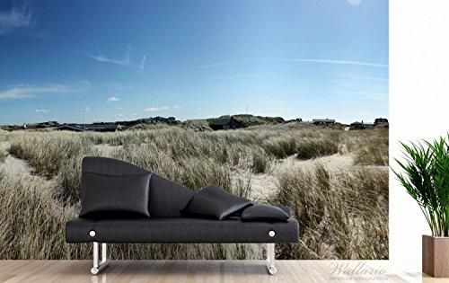 Premium XXL Vliestapete Dünen mit Gras und kleiner Ortschaft - Größe: 400 x 267 cm - 3