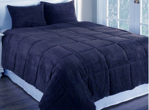 Newpoint Microplush Corduroy Full/Queen Comforter Mini Set, Navy front-229623