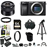 Sony a6300 Mirrorless Digital Camera + Sony 35mm f 1.8 OSS E-Mount Prime Lens + Sony 64GB Memory Card + Digital Treasures Creative & Office Software Suite for PC + 49mm UV Protector + Accessory Bundle