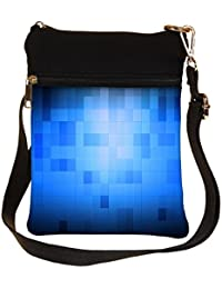 Snoogg Blue Blocks Pattern Design Cross Body Tote Bag / Shoulder Sling Carry Bag