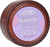 Friends Are Someone Cottage Garden Woodgrain Finish Round Jewelry Music Box - Plays Song Amazing Grace