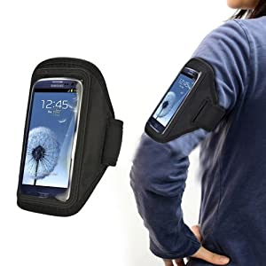 Xtra-Funky Exclusive High Quality Comfortable Universal Soft Neopreme Gym Sports Exercise Armband Holder Case With Adjustable Velcro Strap And Clear Plastic Front Shield For Most Mobile Devices (See Product Page For Compatibility List) -- BLACK