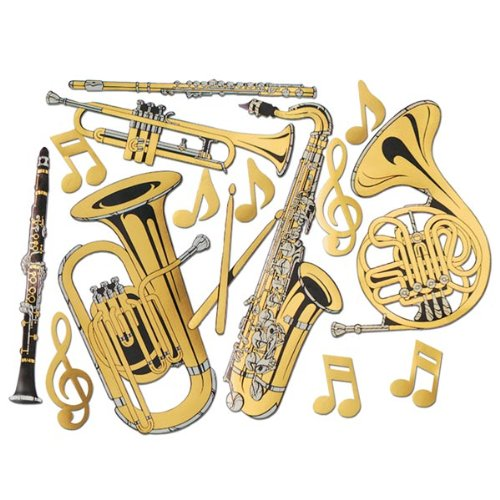 Gold Foil Musical Instrument Cutouts (15/Pkg)