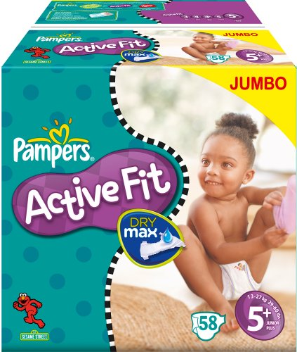 Pampers Active Fit Size 5+ Junior+ Nappies - 2 x Jumbo Packs of 58 (116 Nappies)
