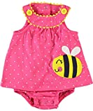 Carters Girls 3-24 Months Bee Polka Dot Sunsuit Set (6 Months, Pink)