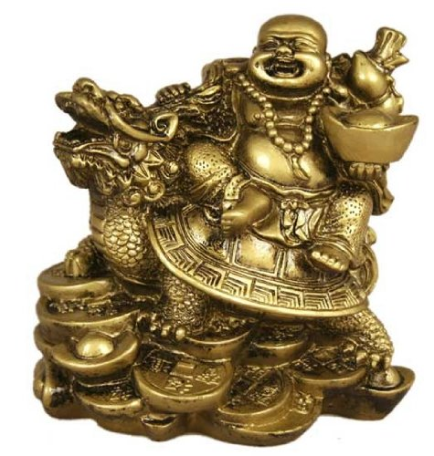 Lucky buddha riding on dragon turtle brass color ebay for Does buddha bring good luck