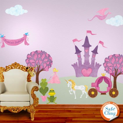 Princess Wall Decals - Repositionable & Removable (Blonde) Princess Theme Wall Stickers front-1016512