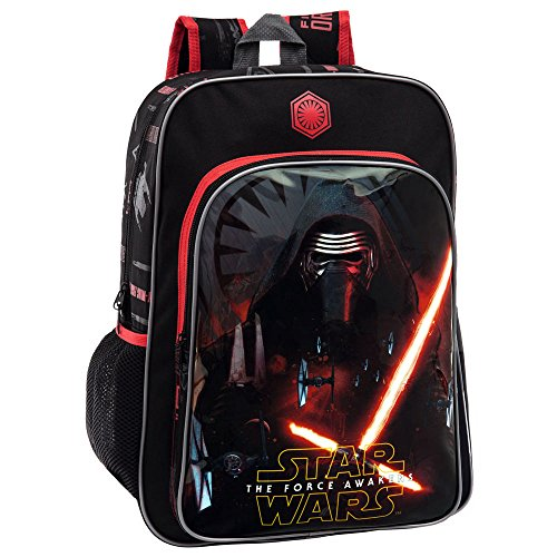 Star Wars The Force Mochila Escolar Adaptable a Carro, Color Negro