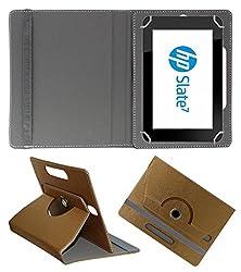 Acm Designer Rotating 360° Leather Flip Case For Hp Slate 7 Hd Tablet Stand Premium Cover Golden
