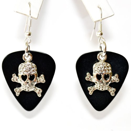 Guitar Pick Earrings with Skull & Cross bone Charms on Black Guitar Picks