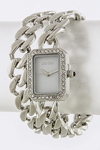 Baubles & Co Square Heavy Look Chain Wrap Watch (Silver/White)