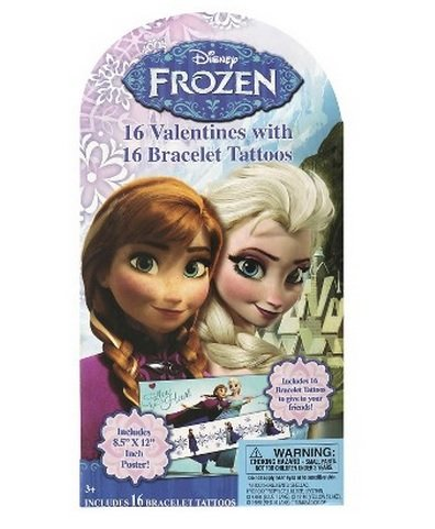 16 Disney Frozen Valentines with 16 Bracelet Tattoos and Bonus Poster
